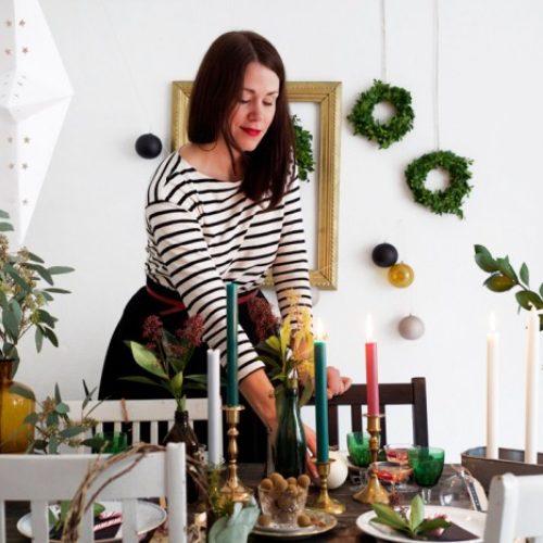 Juldukning i grönt och mässing