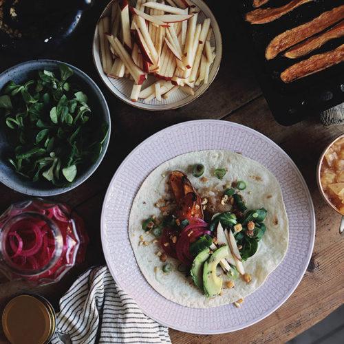 Middagstips; vegetariska tacos med sötpotatis