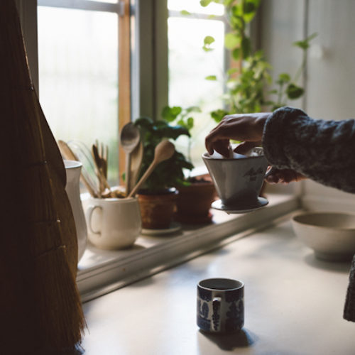 Morgonkaffe och fotografering