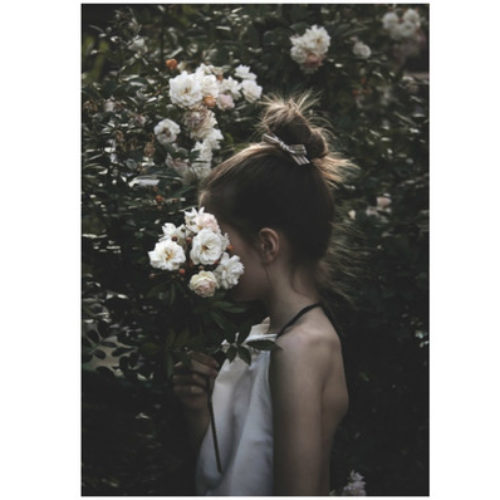 Girl with flowers.