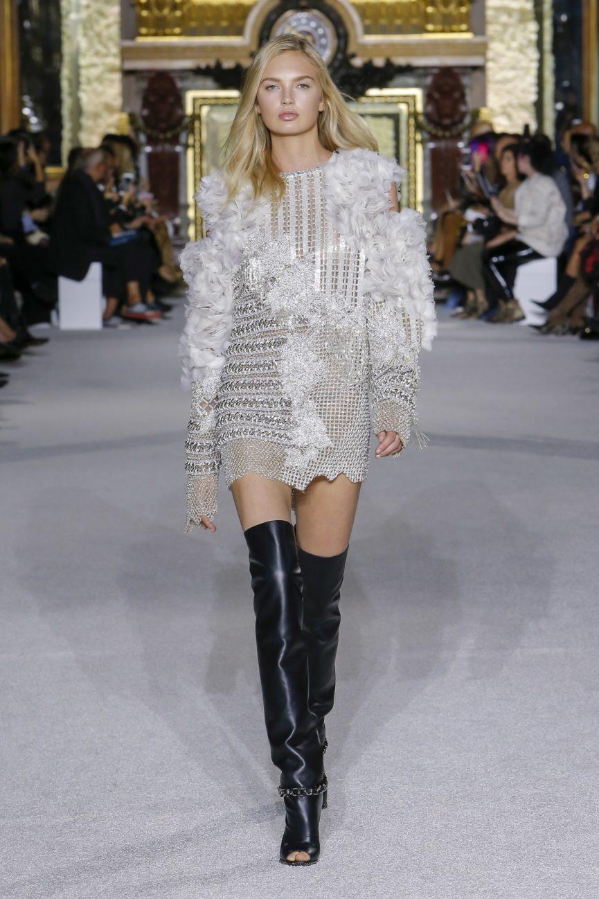 Balmain dress s18 white high boots