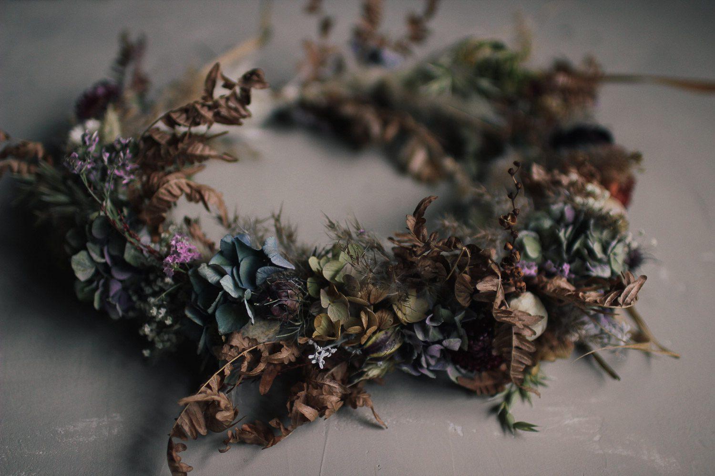 Torkad krans -diy Skillad florals