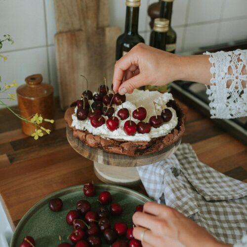 Fika, chocolate cake, cream & cherries