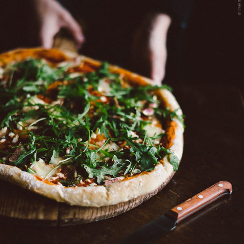 Pizza med fikon och getost